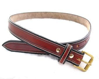 Handmade Brown Leather Stitched Belt