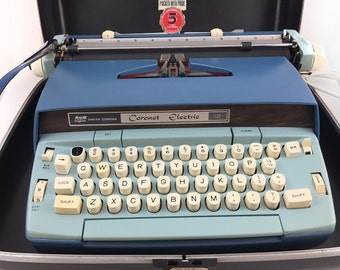 WORKING Coronet Smith-Corona Electric Typewriter, Sky Blue, Sea Foam, Cobalt, Great Con., With Carrying Case, Black/Red Ribbon
