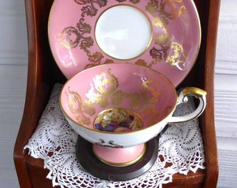 Fancy Aynsley Cup And Saucer Pink Gold Overlay 1950s Bone China Bone China Vintage Teacup
