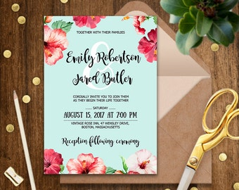 Charming Hawaii Wedding Invitations Etsy, Wedding Invitations