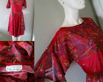 Vintage 80s Jerrell's Sweetheart red floral and paisley dress with slit petal sleeves hippie boho sheer dress