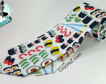 Sushi Necktie, Sushi Lover Tie,  Gifts for Him, Novelty Tie, Men's Accessories, Father Day Gift, Asian Food, Funny Tie, Chopsticks