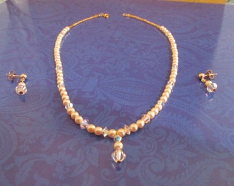 YOUTH Cream Pearl Necklace SWAROVSKI Crystals 14K Gold Fill Post Earrings