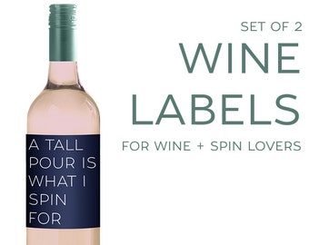 Set of (2) Wine Labels for SPIN Lovers [Funny gift for Wine Lovers! Cycling, Cyclists, Soul Cycle]