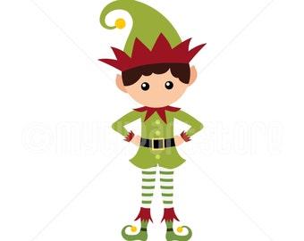 Clipart - Christmas Elf Clipart (Single Clipart Image) - Digital Clip Art (Instant Download)