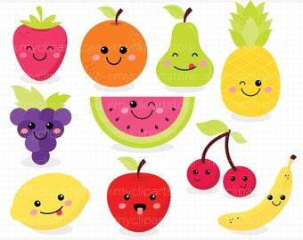 Clipart - Cute Fruit  / Kawaii Fruit Clipart - Digital Clip Art (Instant Download)