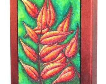 Nature Walk; Red Leaves, Art quilt on canvas, home decor