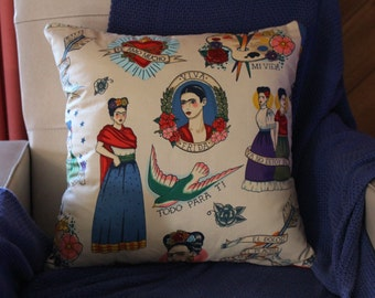 Mexican tattoo print cushion cover 45cm X 45cm 100% cotton hand made