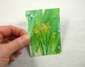 ACEO, Art Card, Daffodils Miniature Painting, Alcohol Inks, Spring Flowers, Original Small Work of Art OSWOA, Gift Idea, Collectors Art, SFA