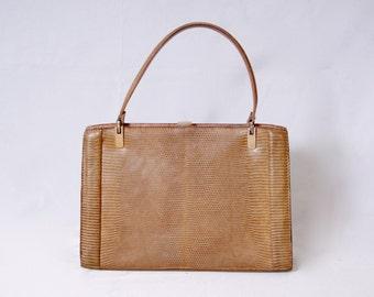 Exotic Leather Elegant Vintage 1970s Real Lizard Leather Kelly Style Handbag Bag