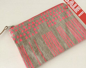 Hand screen printed linen purse, small, pink, natural flax linen