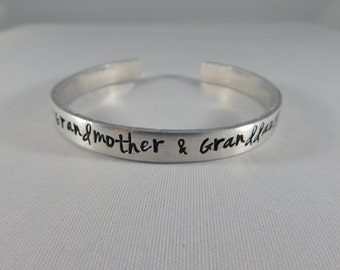 The love between a Grandmother & Granddaughter is forever - Hand Stamped Grandmother Granddaughter Bracelet - kg1918