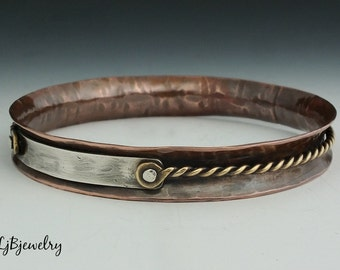 Copper Bangle, Mixed Metal Bangle, Stacking Bangle, Anticlastic Bangle, Brass, Copper, Sterling Silver, Handmade, Earthy Organic Style