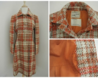 Vintage 70s SAKS FIFTH AVENUE womens Plaid coat M wool blend 1970s vtg