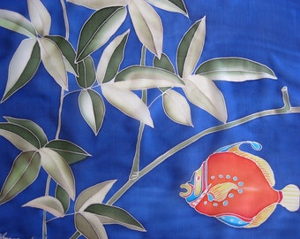 Blue silk scarf hand painted Red fish Botanical Funny Mothers day gift - ready to ship