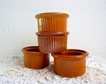 Vintage set of 4 FRENCH RAMEKINS, Small, Classic Bowls, Caramel Colored Ceramic. Stamped Emile Henry, France.