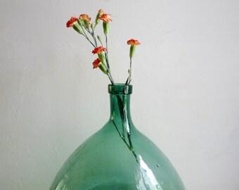 Vintage Extra Large DEMI JOHN, XL Dame Jeanne, Aqua Green glass. Wine bottle contains 20 liter.