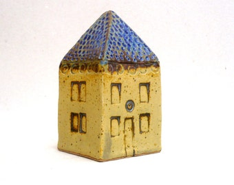 Yellow House, Blue Roof House, Miniature House, Architecture , Ceramic Sculpture,Office Decor,Gift For Him