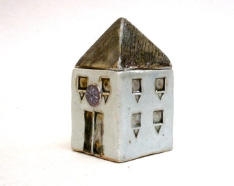 Brown And White  Townhouse, Miniature House , Fine Art Ceramics