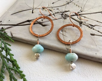 hammered copper hoop earring with aventurine and sterling silver