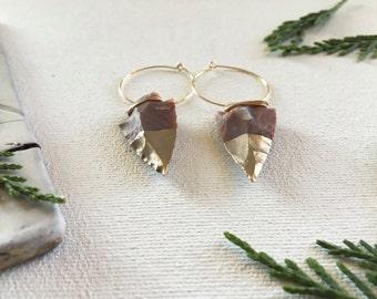 gold dipped arrowhead earrings