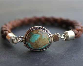 Turquoise Mens Bracelet - braided leather turquoise and sterling silver mens jewelry, mens gift, mens jewelry, wristware braided bracelet
