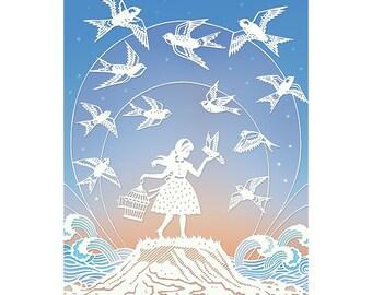 8x10 Print - Dare to Fly - Original Papercut Illustration - Fine Art Print
