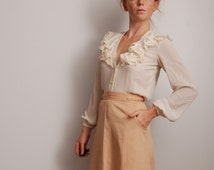 60s small Montaldo's edwardian puffy long sleeve semi sheer button up ruffle shirt womens vintage