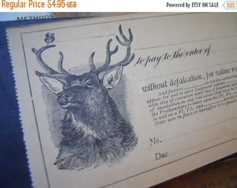 HUGE SALE One Beautiful Unused 100 Year Old Antique Check- The Stag   LAST Ones