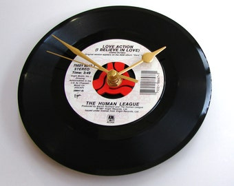 """HUMAN LEAGUE Vinyl Record CLOCK """"Love Action"""" recycled 7"""" single Great for fans, 80s pop fashion, black, white, red, romantic gift, retro"""