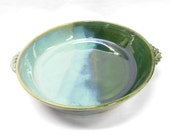 Pottery Casserole, Blue and Green Ceramic Casserole, Pottery Baking Dish with Handles, Ceramic Baking Dish, Medium in Blue and Green