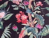 Vintage Black TROPICAL Fabric / 1980s Braemore Design Screen Print / 36 x 56