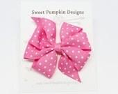 Hair Bow. Girl Bow. Pinwheel Clip. Pink Clip. Pink Polka Dot Bow.  Pink Pinwheel. Barrette. Toddler Hair Accessory HC1261