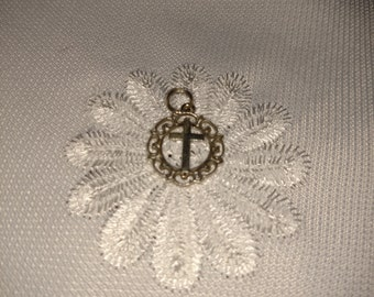 Sterling Silver Filigree Border Cross Charm **FREE SHIPPING**