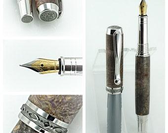 Custom Wooden Pen Fountain Beautiful Quilted Buckeye Burl Purple Dye Rhodium and Black Titanium 829FPA