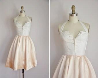 50s Sugar Cubes dress/ vintage 1950s full skirt party dress/ vintage halter top formal dress