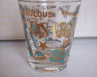 Vintage  Shot glass Las Vegas Casinos Golden Nugget Stardust Dunes Flamingo Bar Glass