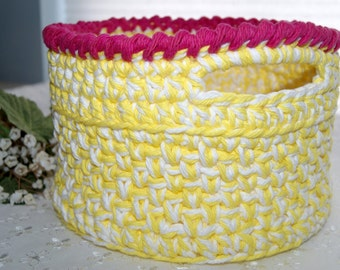 Crochet Cotton Basket with Handles - Small Size - Bathroom Accessory - Home Decor Item - Yellow - White - Small Storage Bin