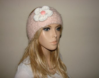 pale pink knit headband white flower, knitted headband, ear warmer,gift for her, ski head wrap, ear warmer, head scarf woman