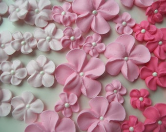 Shades of pink ombre flowers -- Edible cake decorations cupcake toppers  (24 pieces)