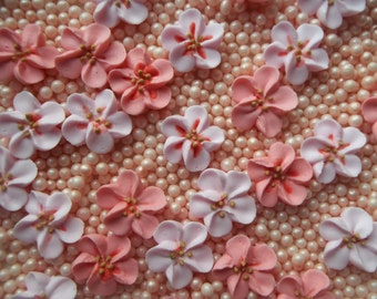 Royal icing cherry blossoms -- Edible cake decorations cupcake toppers (12 pieces)