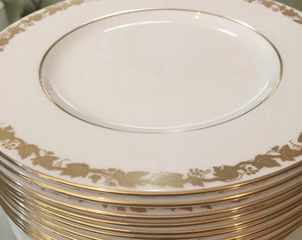 12 Large Wedgewood Dinner Plates/Bone China/White with Gold Leaves/Whitehall Pattern W4001/Dinner Party/Wedding Gift/Cabinet Display/Fancy