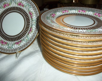 Antique Plates/Wedgewood China /12 Dinner Plates/Pink Roses/Gold Lines and Dots/Dinner Party/Wedding Gift/Gold Back Rim/ Fine China
