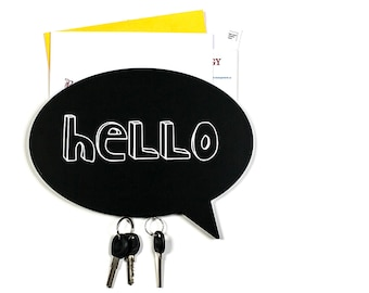 Key Hook - Wooden Wall Organizer - on a magnet - HELLO-  for your keys, bills and letters