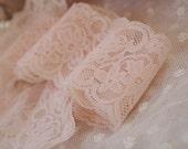 blush pink stretch lace trim 2 yards