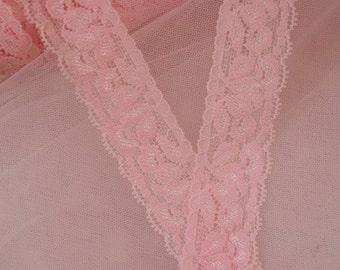 pink stretch lace trim 3 yards