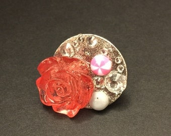 Sweet lil rose and faux bling adjustable ring