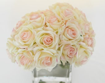Real Touch Ivory Roses Pink Tipped Arrangement using Artificial Faux Silk Flowers for Home Decor