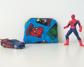 Marvel Comics Coin Purse - Spiderman - Iron Man - Zipper Change Pouch - Small Gift Card Holder - Superhero Fabric Pouch - Boys Gifts