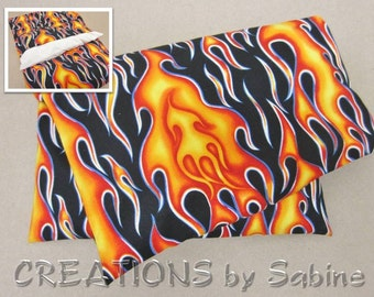 Heating Pack, Corn Pillow washable cover Microwaveable Therapy Bag Ice Pack Red Orange Hot Flames Rocker Biker Motorcycle Gift (468)